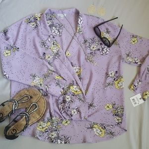NWT Ophelia Roe collar & wrap front orchid floral